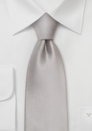 Solid Silver Silk Tie in XL