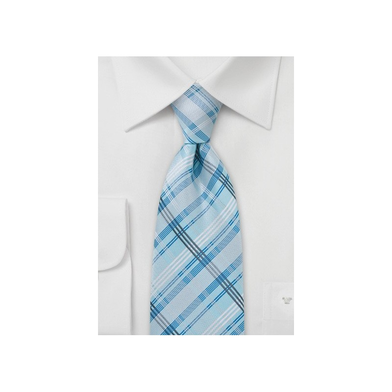 Sky Blue Checkered Tie