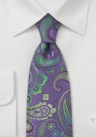 Purple and Green Silk Tie