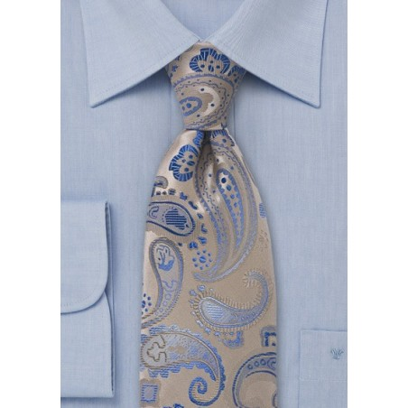 Champagne and Blue Paisley Tie