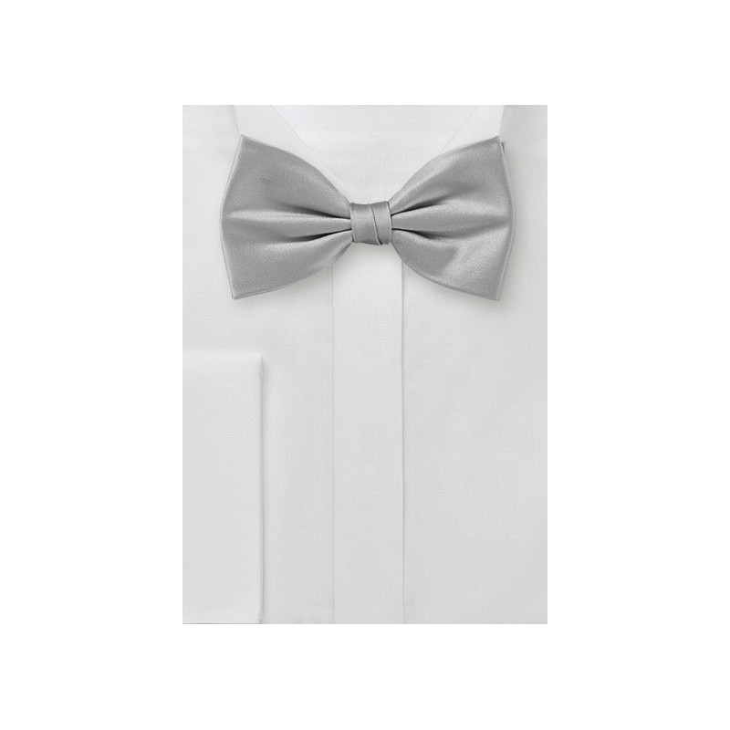 Silk Bow Tie in Festive Silver