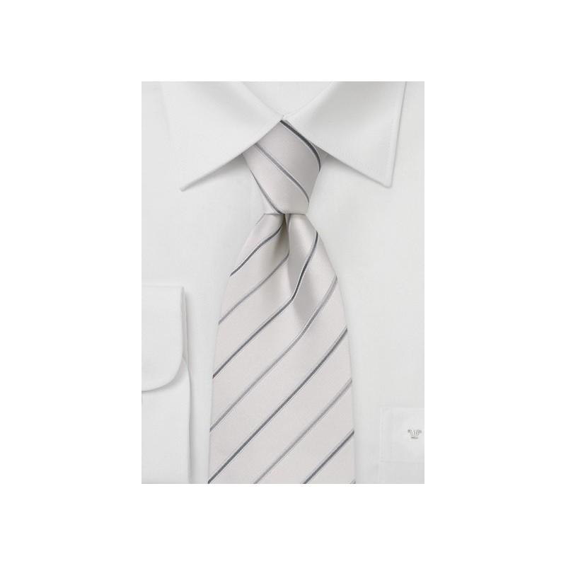White and Silver Striped Silk Tie