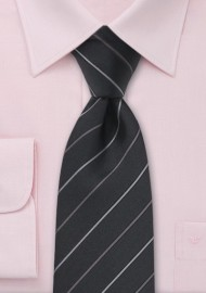 Black and Gray Striped Silk Tie