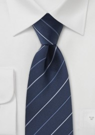 Navy and Light Blue Striped Tie