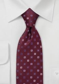 Maroon and Blue Silk Tie