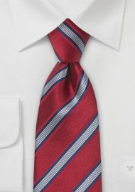 Cardinal Red Striped Silk Tie