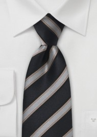 Black and Gold Striped Silk Tie