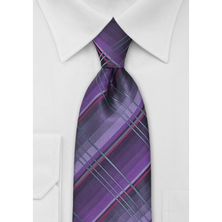 Purple and Gray Checkered Tie