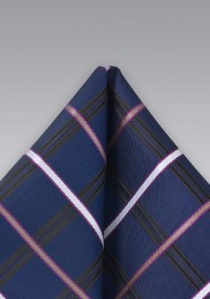 Navy Checkered Pocket Square