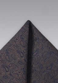 Dark Brown Paisley Pocket Square