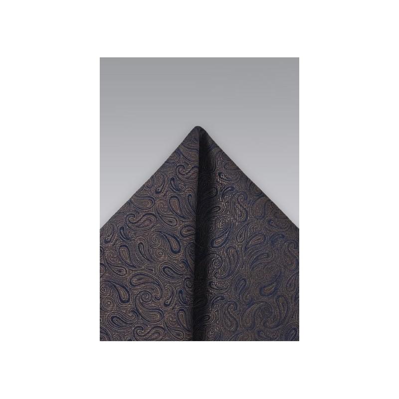 Dark Brown Paisley Pocket Square
