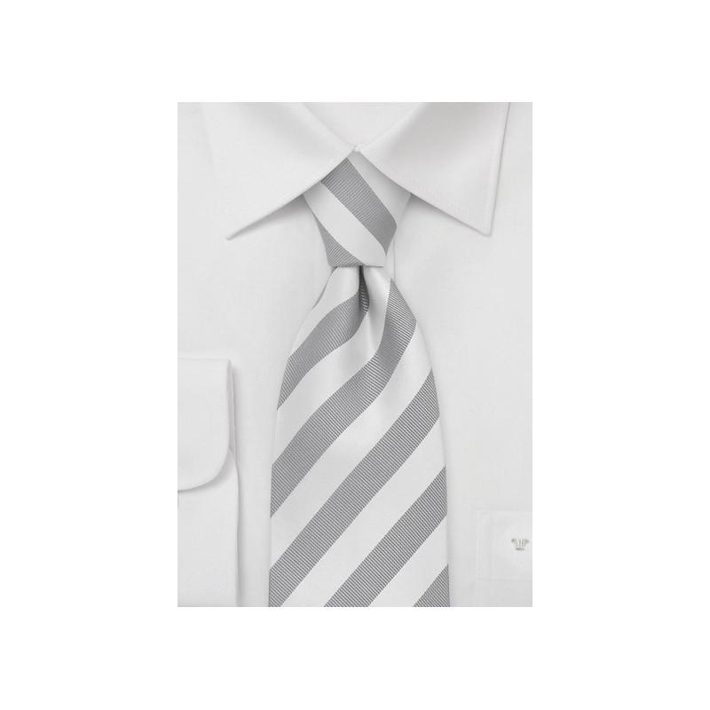 Mens XL Tie in Silver White