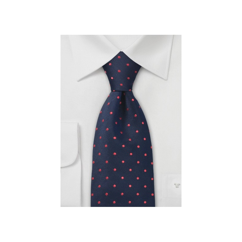 Blue Red Polka Dot Silk Tie