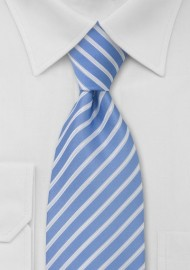 Striped Tie in Light Blue, White