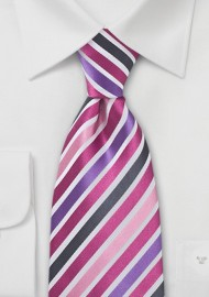 Pink and Purple Striped Necktie