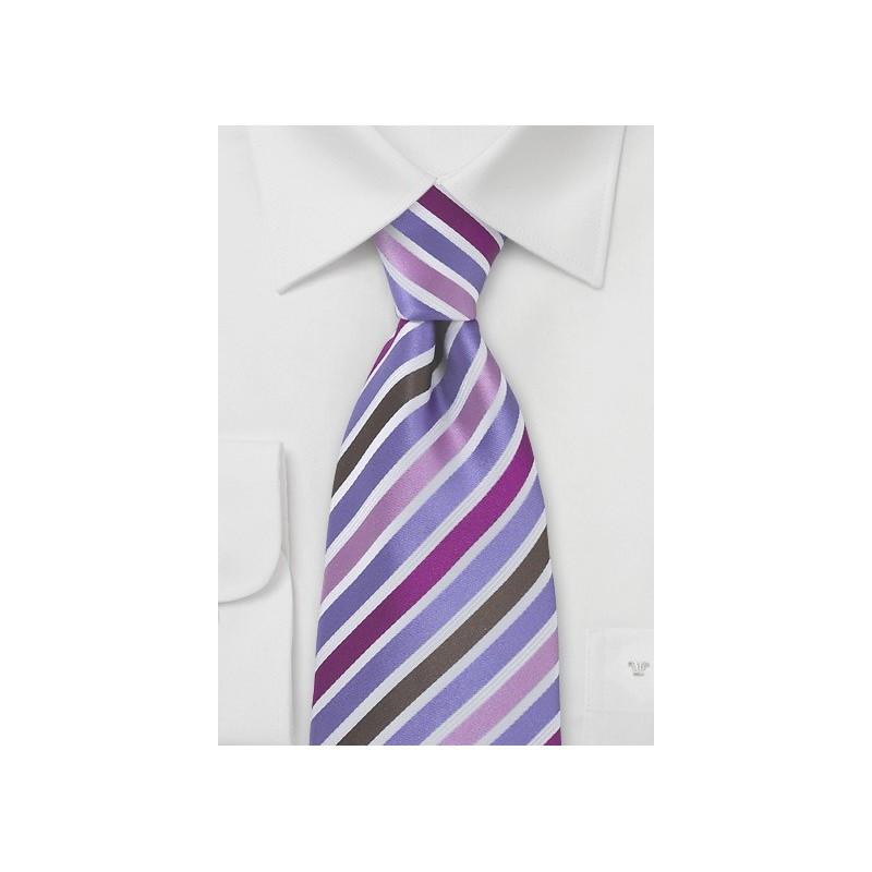 Silk Tie in Pink, Purple, Brown
