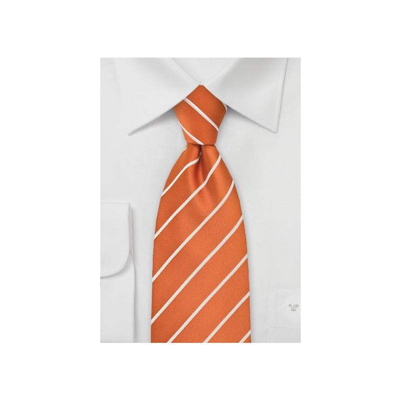 XL Striped Tie Persimmon Orange White