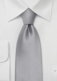 XL Bright Silver Silk Tie