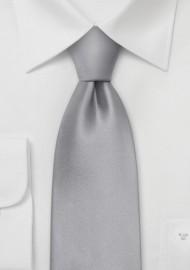 Solid Bright Silver Silk Kids Tie