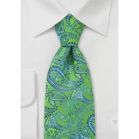 Trendy Green Blue Paisley Tie