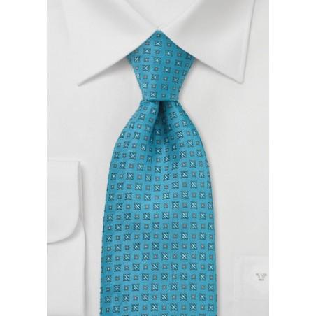 Turquoise Blue Foulard Pattern Tie