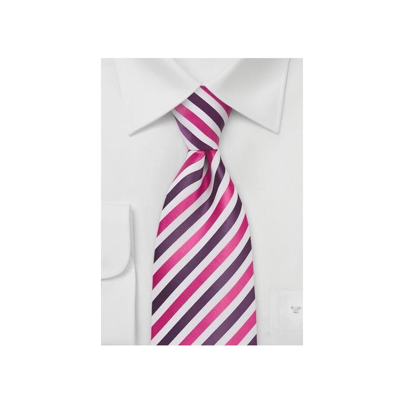 Purple, Magenta, White Striped Tie