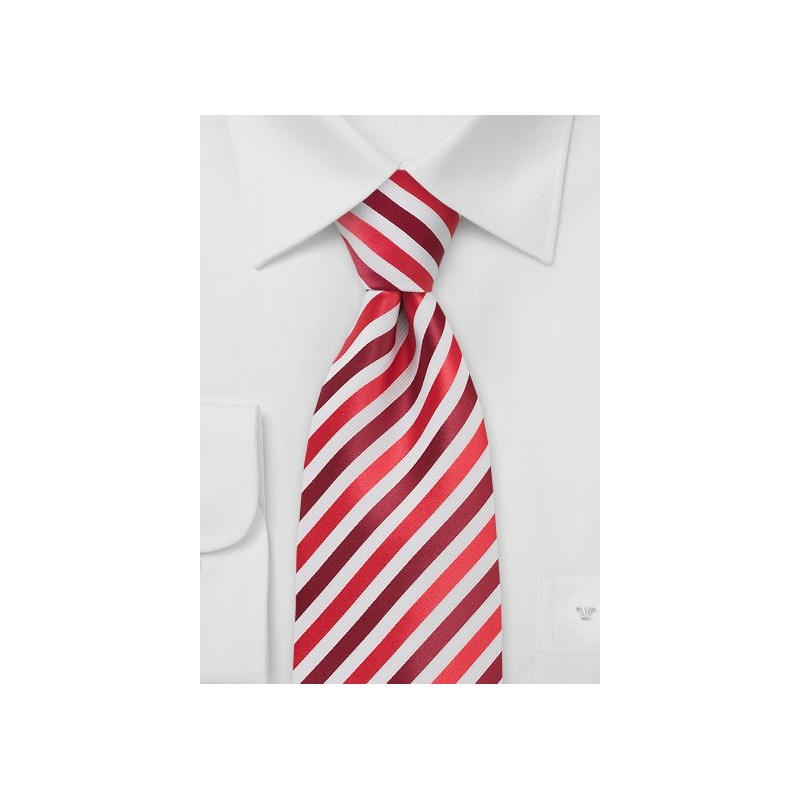 Trendy Red and White Striped Tie