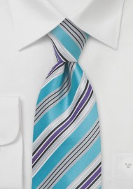 Modern Striped Tie in Pool Blue