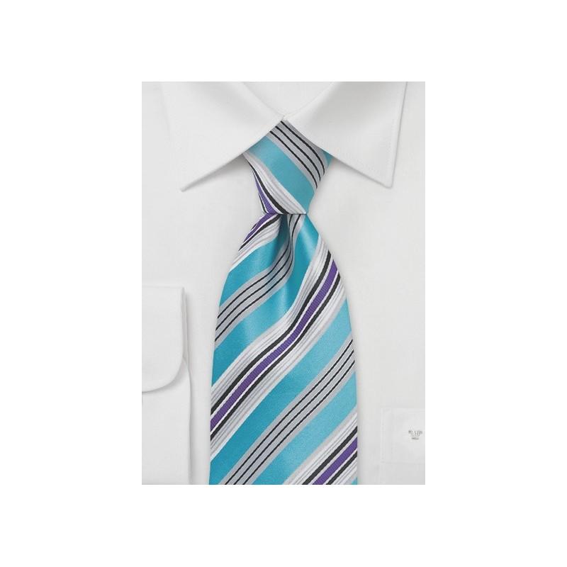 Modern Striped Tie in Pool Blue