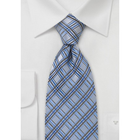Light Blue Checkered Tie