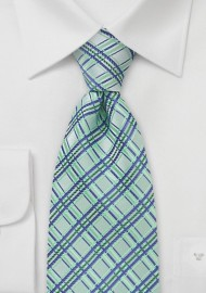 Tea Green Checkered Tie