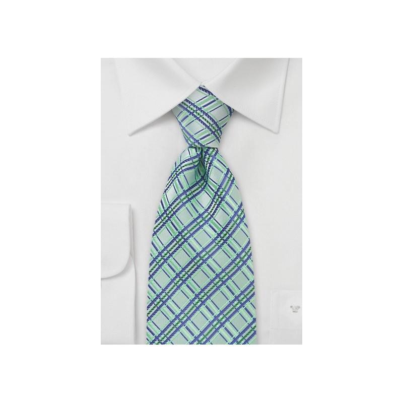 Tea Green Checkered Tie