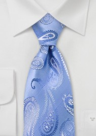 Powder Blue Paisley Silk Tie