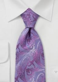 Retro Paisley Tie in Lavender