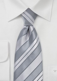 Modern Silver Striped Tie