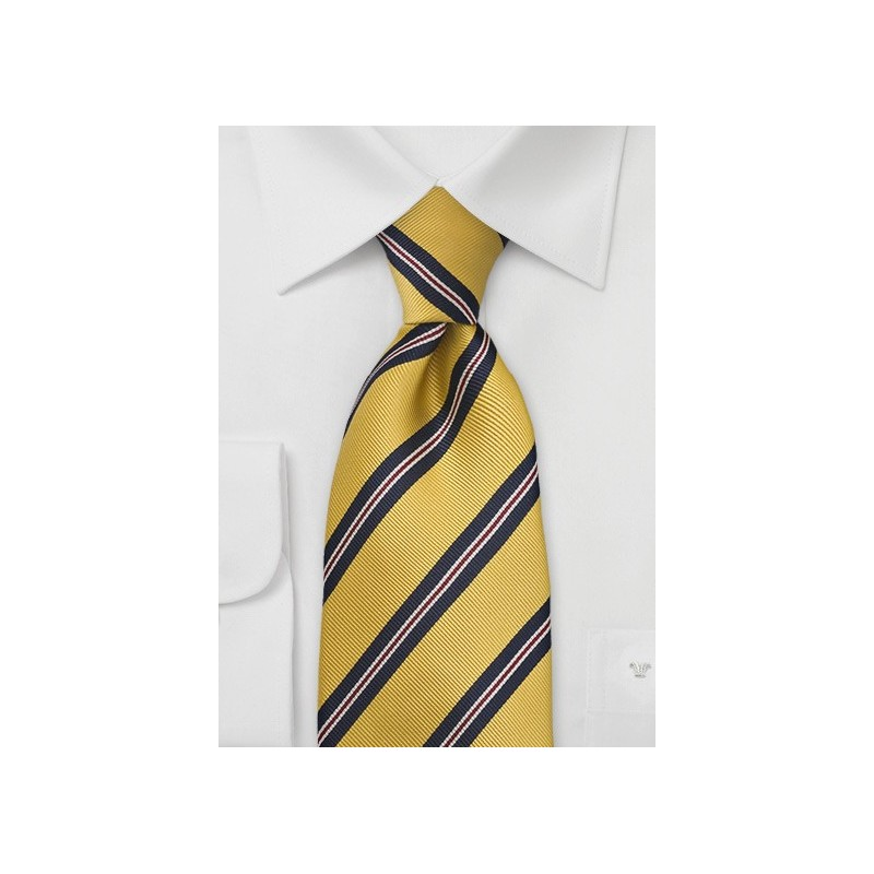 Mustard Yellow and Navy Striped Tie