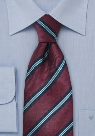Burgundy Striped Regimental Tie
