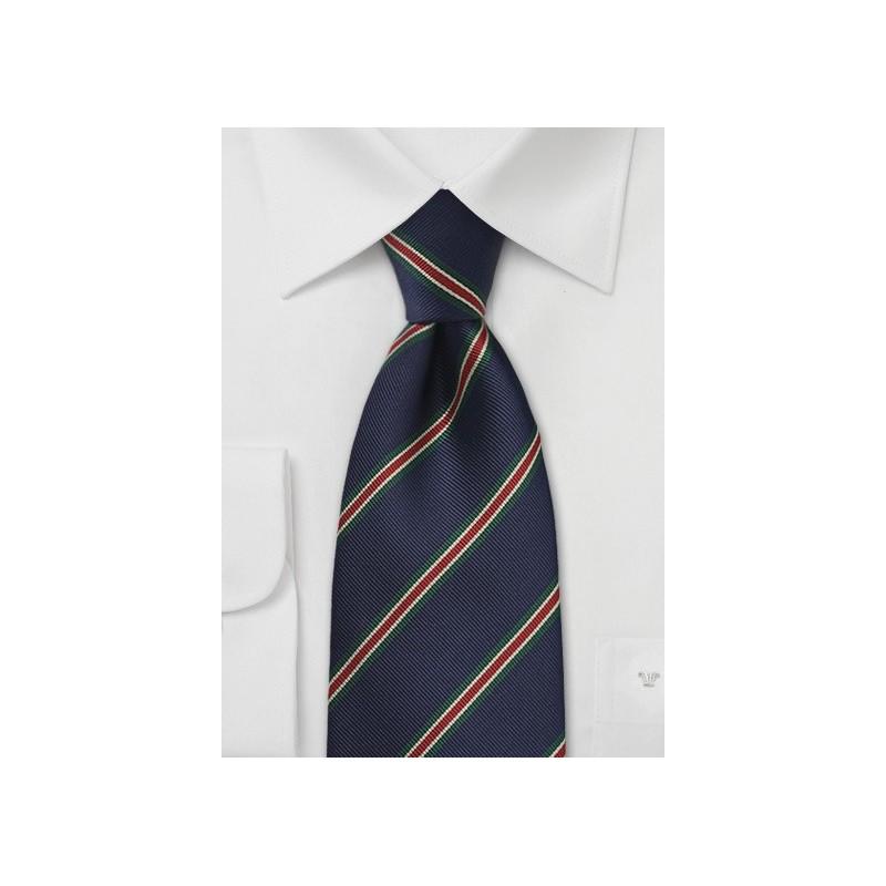 British Striped Tie in Navy