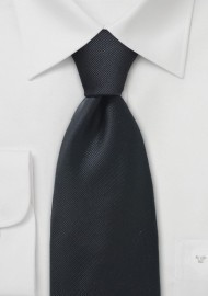Solid Ribbed Textured Tie in Black