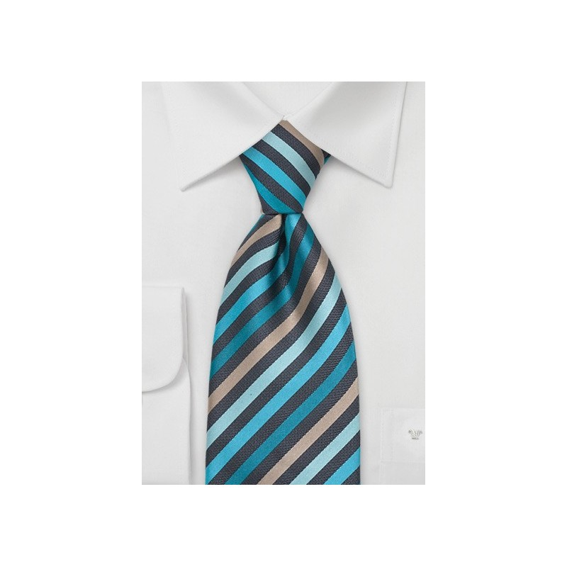 Teal, Mint-Green, and Tan Tie