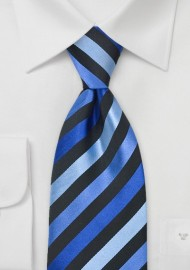 Blue & Black Striped Silk Tie