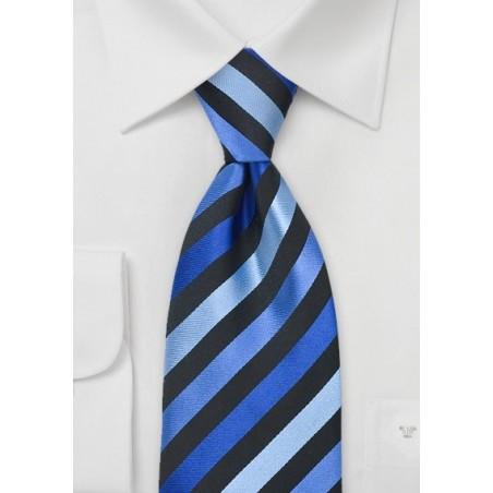 Blue & Black Striped Silk Tie