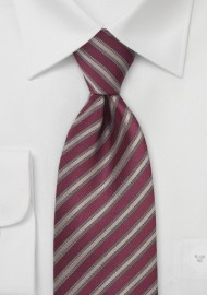 Dark Red Tie with Bronze Stripes
