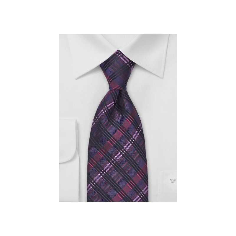 Dark Purple & Pink Silk Tie