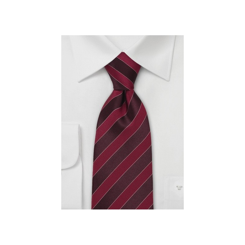 Burgundy and Red Striped Tie