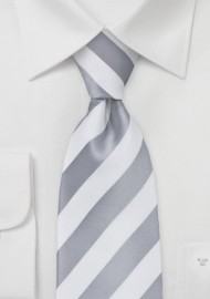 White and Silver Striped Tie