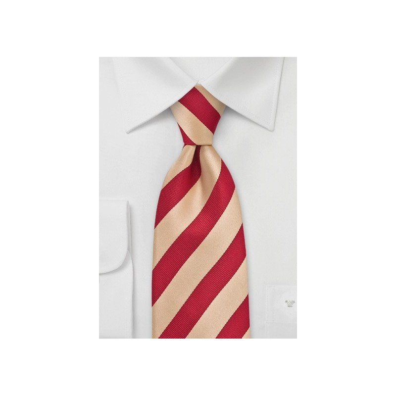 Gold and Red Striped Tie