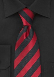 Red and Coal Black Striped Tie