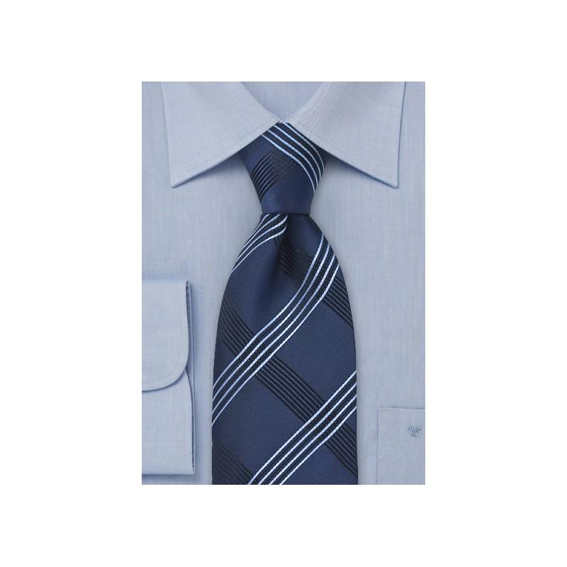 Asymmetrical Striped Tie in Blue