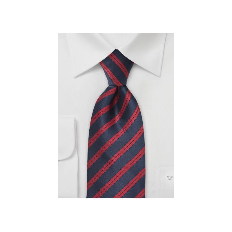 Dark Navy and Red Striped Tie